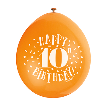9″ Happy 10th Birthday Assorted Colours Latex Balloons (Pack 10)