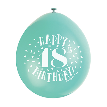 9″ Happy 18th Birthday Assorted Colours Latex Balloons (Pack 10)
