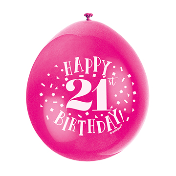 9″ Happy 21st Birthday Assorted Colours Latex Balloons (Pack 10)