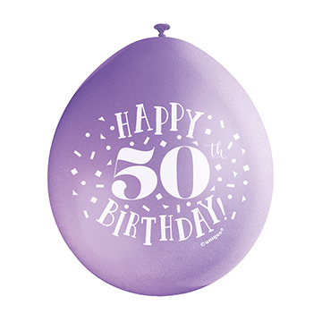 9″ Happy 50th Birthday Assorted Colours Latex Balloons (Pack 10)