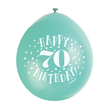 9″ Happy 70th Birthday Assorted Colours Latex Balloons (Pack10)