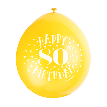 9″ Happy 80th Birthday Assorted Colours Latex Balloons (Pack 10)