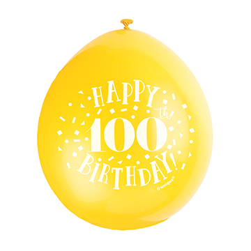 9″ Happy 100th Birthday Assorted Colours Latex Balloons (Pack 10)