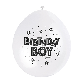 9″ Birthday Boy Blue Assorted Colours Latex Balloons (Pack 10)