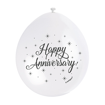 9″ Happy Anniversary Assorted Colours Latex Balloons (Pack 10)