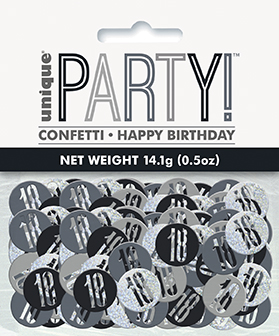 Birthday Black Glitz Number 18 Confetti 0.5oz