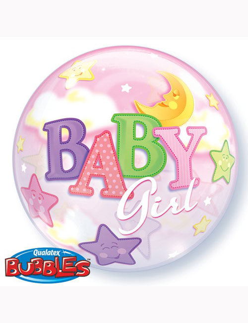 "22"" Bubble Baby Girl Moon and Stars"