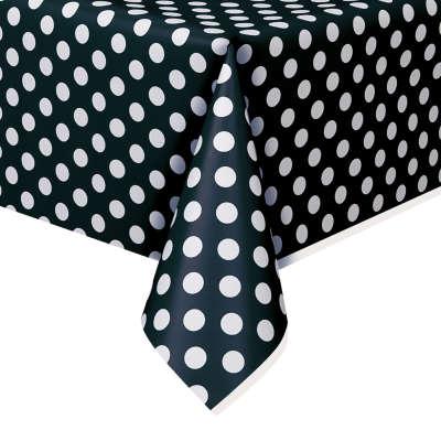 "Rectangular Plastic Table Cover 54""x108"" Black Dots"