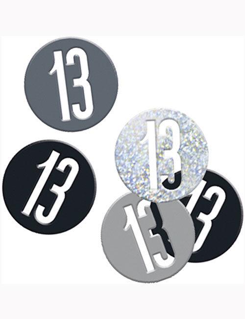 Birthday Black Glitz Number 13 Confetti 0.5oz