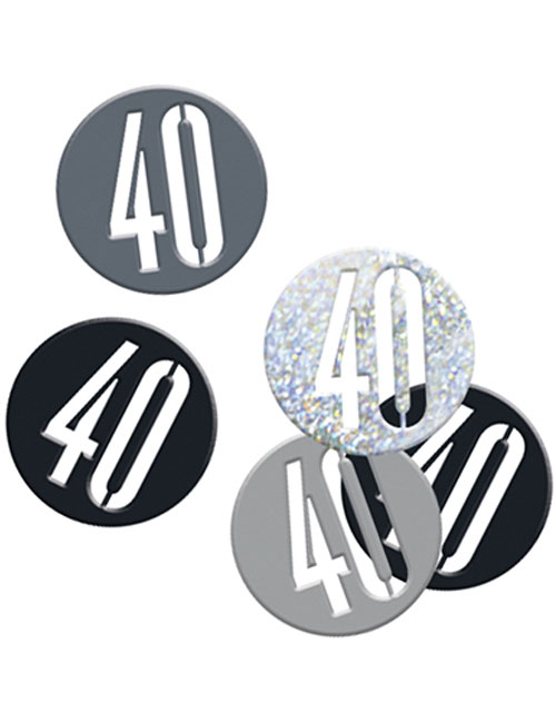 Birthday Black Glitz Number 40 Confetti 0.5oz