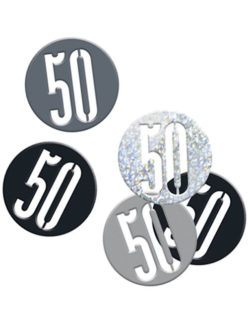 Birthday Black Glitz Number 50 Confetti 0.5oz
