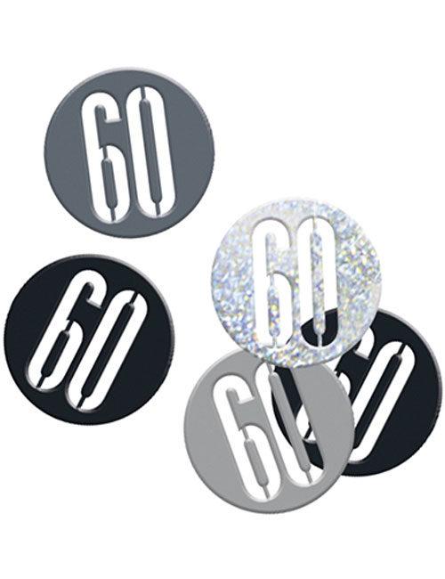 Birthday Black Glitz Number 60 Confetti 0.5oz