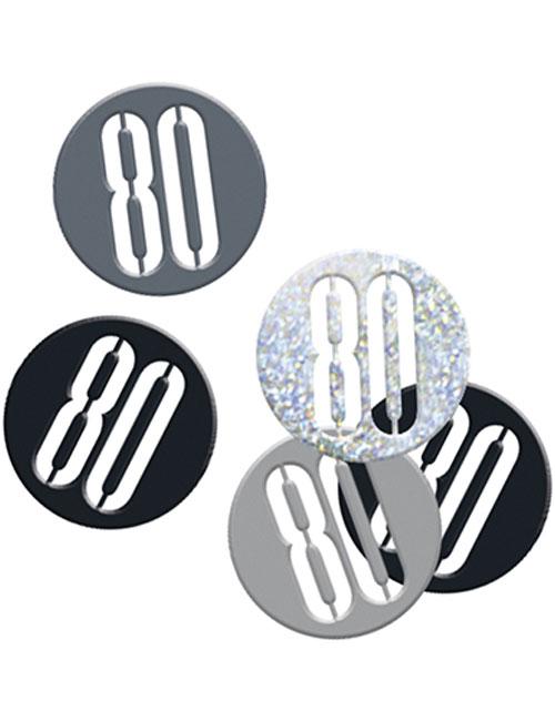Birthday Black Glitz Number 80 Confetti 0.5oz