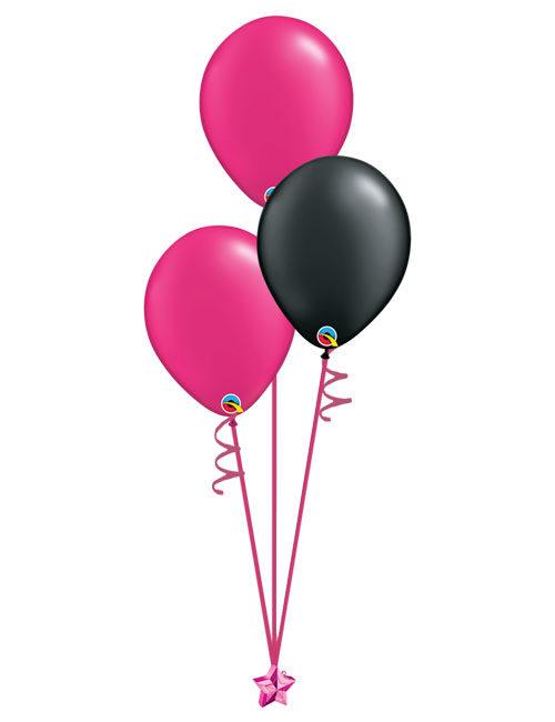 Set of 3 Latex Balloons Magenta and Black