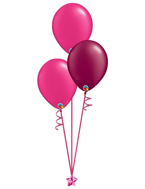 Set of 3 Latex Balloons Magenta and Burgundy