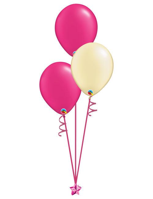 Set of 3 Latex Balloons Magenta and Ivory