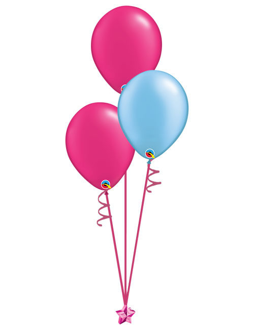 Set of 3 Latex Balloons Magenta and Light Blue