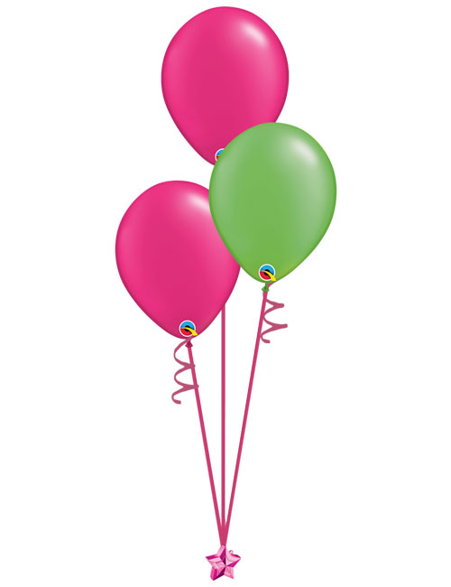 Set of 3 Latex Balloons Magenta and Lime Green