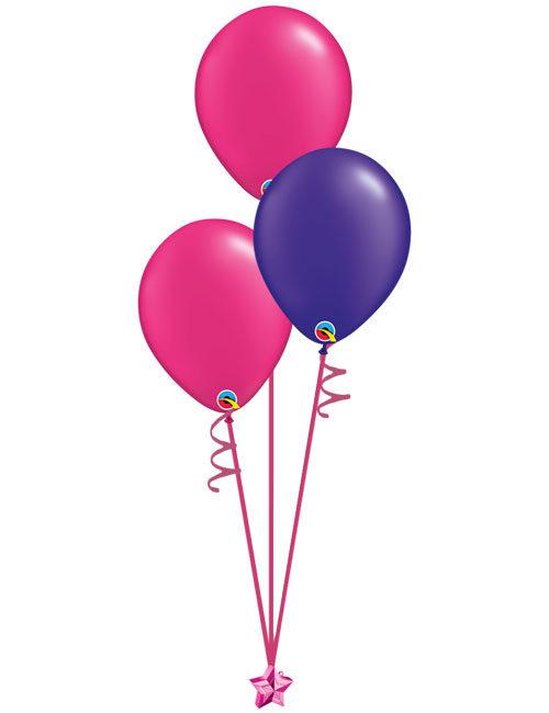 Set of 3 Latex Balloons Magenta and Purple