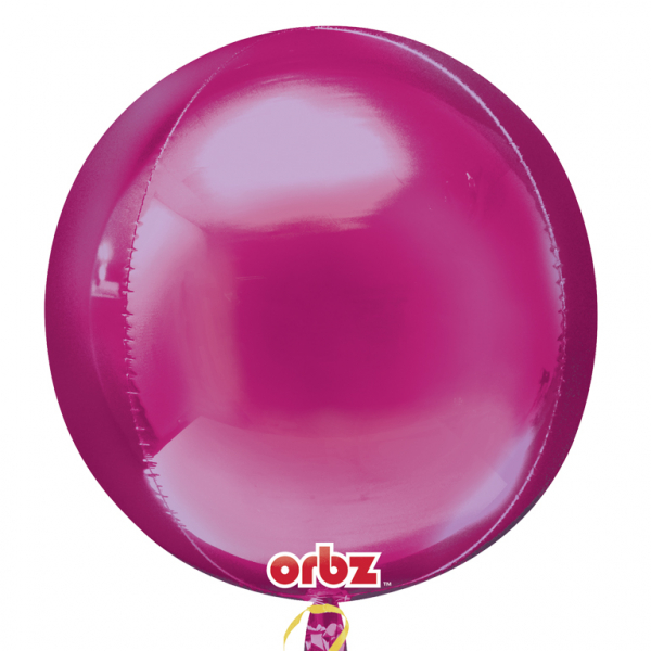 "Orbz Foil Balloon 15"" x 16"" Bright Pink"