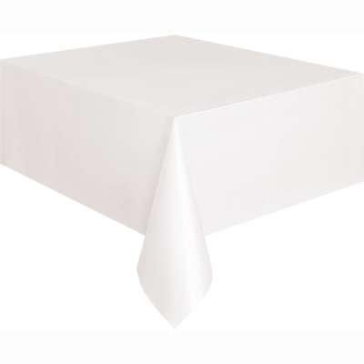 """Solid Rectangular Plastic Table Cover 54""""x108"""" White"""