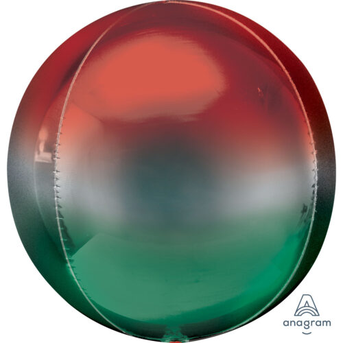 """Orbz Foil Balloon 15"""" x 16"""" Ombre Red and Green"""