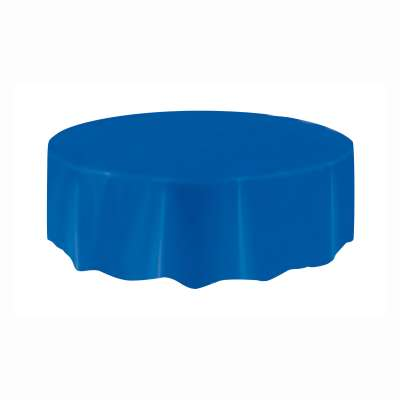 """Solid Round Plastic Table Cover 84"""" Royal Blue"""