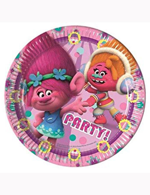Trolls Party Plates 23cm (Pack of 8)