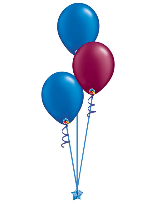 Set of 3 Latex Balloons Blue and Burgundy