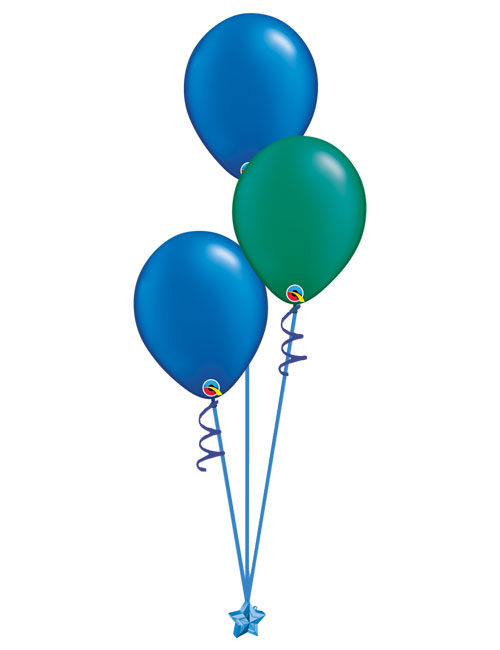 Set of 3 Latex Balloons Blue and Emerald Green