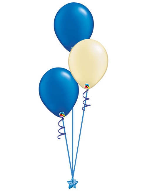 Set of 3 Latex Balloons Blue and Ivory