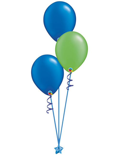 Set of 3 Latex Balloons Blue and Lime Green