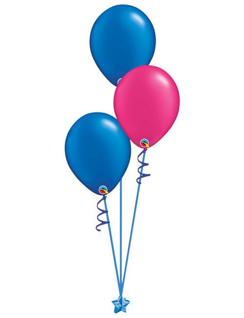 Set of 3 Latex Balloons Blue and Magenta
