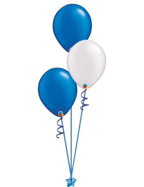 Set of 3 Latex Balloons Blue and White