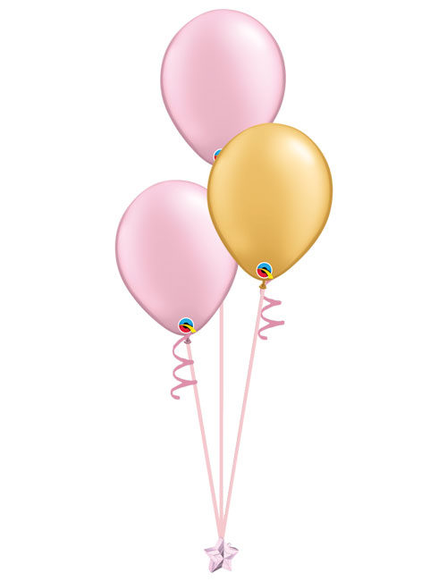 Set of 3 Latex Balloons Pink and Gold