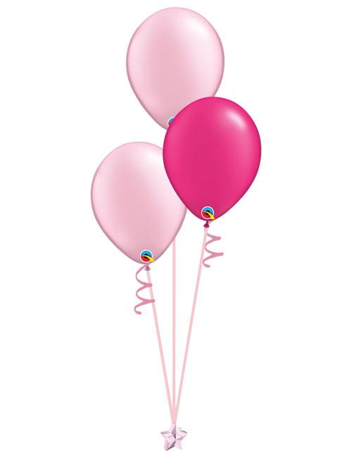 Set of 3 Latex Balloons Pink and Magenta