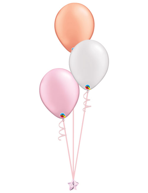 Set of 3 Latex Balloons Pink, Rose Gold and White