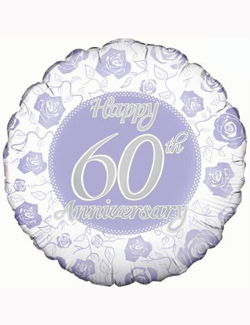 "18"" Happy 60th Anniversary Balloon."