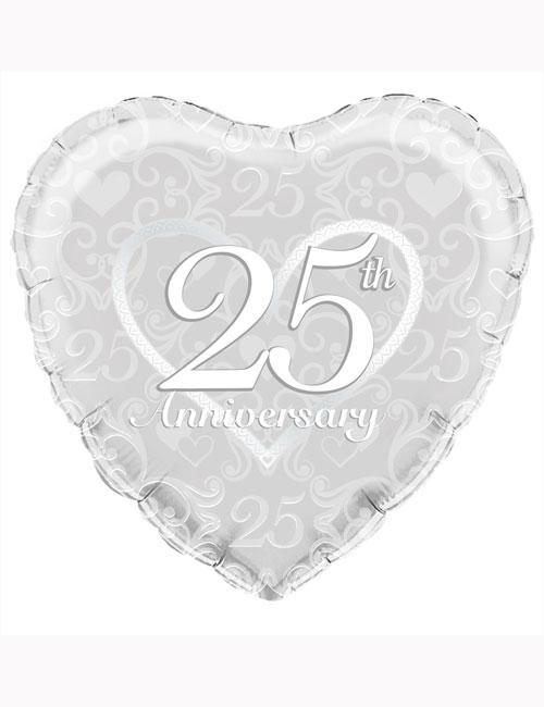 "18"" Happy 25th Anniversary Filigree Balloon"
