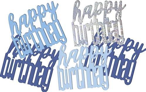 Birthday Blue Glitz Confetti Happy Birthday