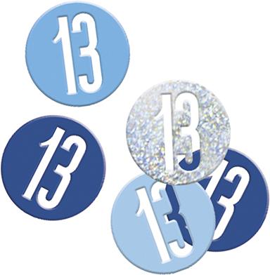 Birthday Blue Glitz Confetti Number 13