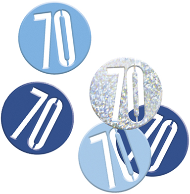 Birthday Blue Glitz Confetti Number 70