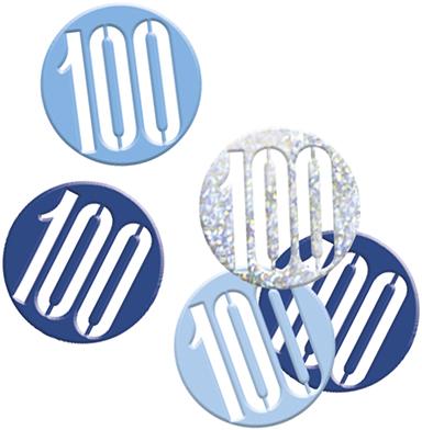 Birthday Blue Glitz Confetti Number 100