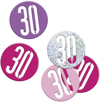 Birthday Pink Glitz Confetti Number 30