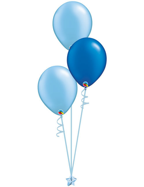Set 3 Latex Balloons Light Blue Blue