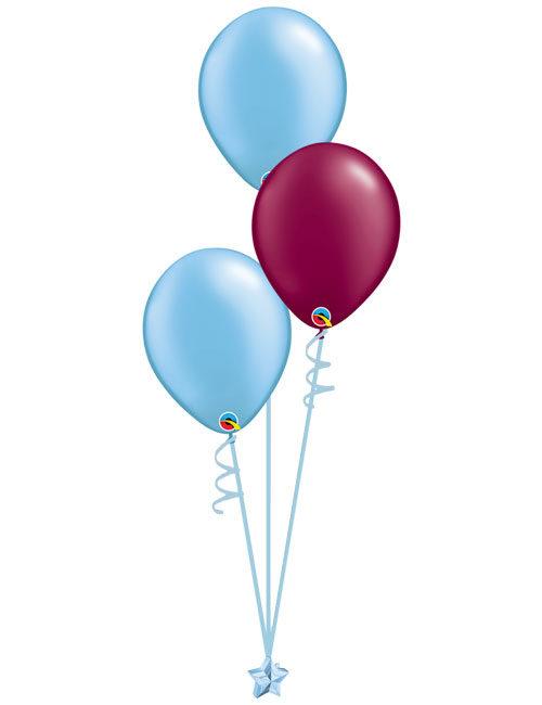 Set 3 Latex Balloons Light Blue Burgundy