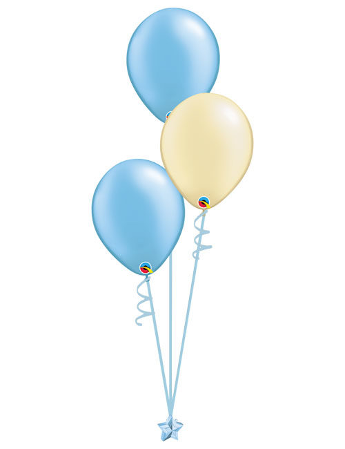 Set 3 Latex Balloons Light Blue Ivory