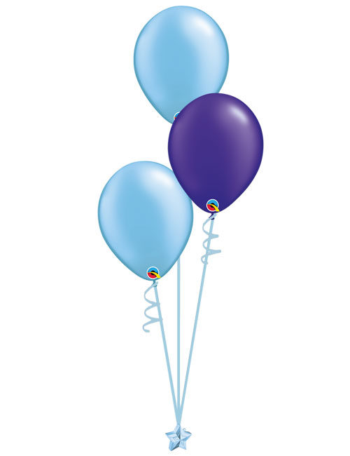 Set 3 Latex Balloons Light Blue Purple