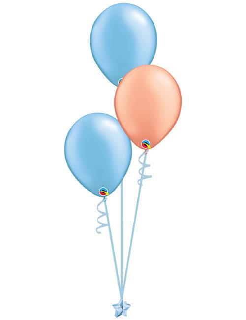 Set 3 Latex Balloons Light Blue Rose Gold