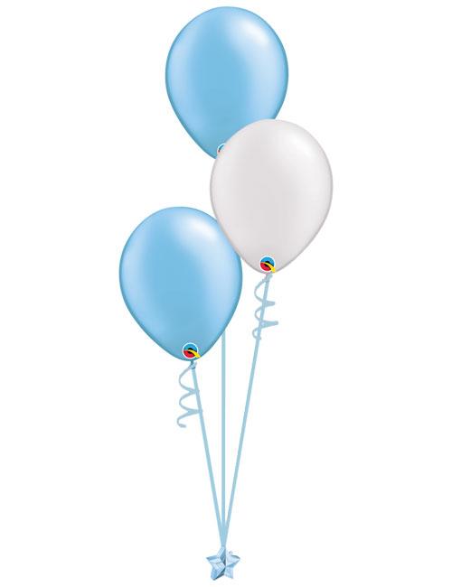 Set 3 Latex Balloons Light Blue White